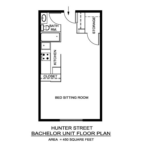 Hunter street apartments locations a r c management for Bachelor house plans